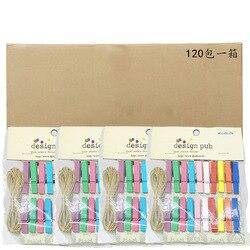 3,5 Cm Color madera pequeño Clip 20 Uds Tapa dura con cuerda de cáñamo decoración del hogar mensaje foto portafolio tanque cargado