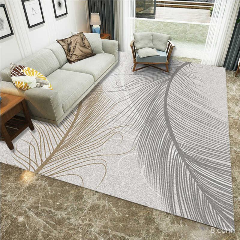 青白 3D 高級フェザープリントリビングルームモダンなコーヒーテーブル領域寝室フットパッド抗スリップ tapete