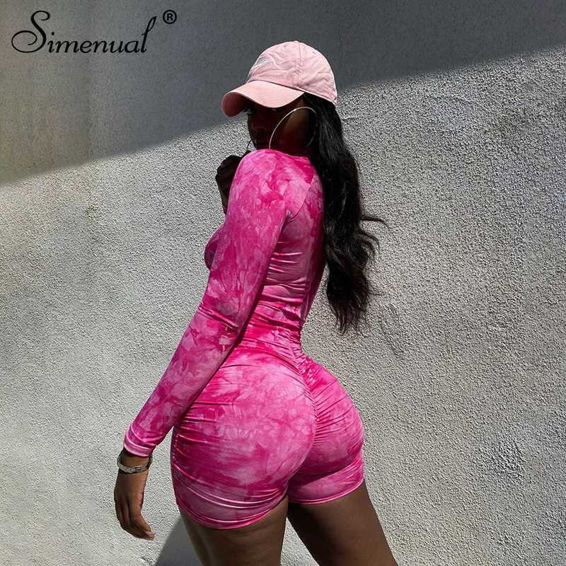 Simenual Tie Dye Ruches Casual Biker Shorts Rompertjes Vrouwen Lange Mouw Workout Active Wear Skinny Playsuit Mode Bodycon 2020