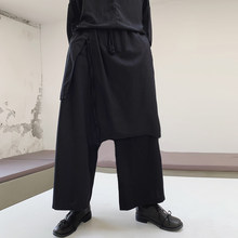 INCERUN Men Wide Leg Pants Punk Style Joggers Loose Solid Streetwear Irregular Skirt Trousers Pockets Drawstring Men Harem Pants(China)