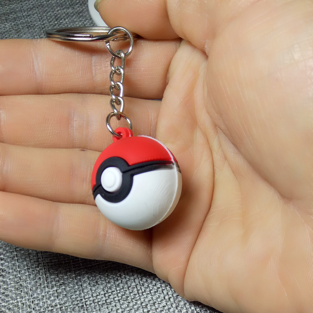3D Anime Pokemon Key Ring Poke Ball Keychain Pocket Monsters Key Holder Pendant Figure Toy