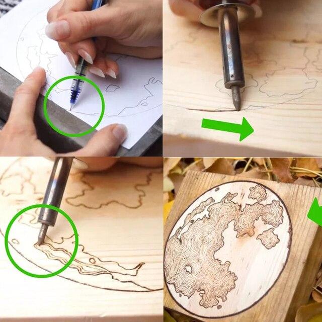 7 pièces/ensemble 110-220V outils de pyrogravure Set bois sculpté pyrogravure fer électrique pour gravure artisanat fer à souder stylo EU/US/UK