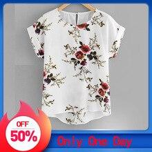 Летняя модная блузка с цветочным принтом, пуловер, женская футболка с круглым вырезом, женская рубашка с коротким рукавом, Blusas Femininas, одежда