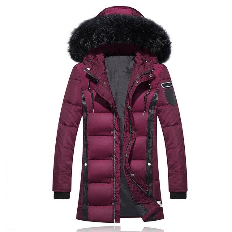 Winter Men Thick Fur Designer Coats Warm Windbreaker Hooed Long Solid Down Jackets 3
