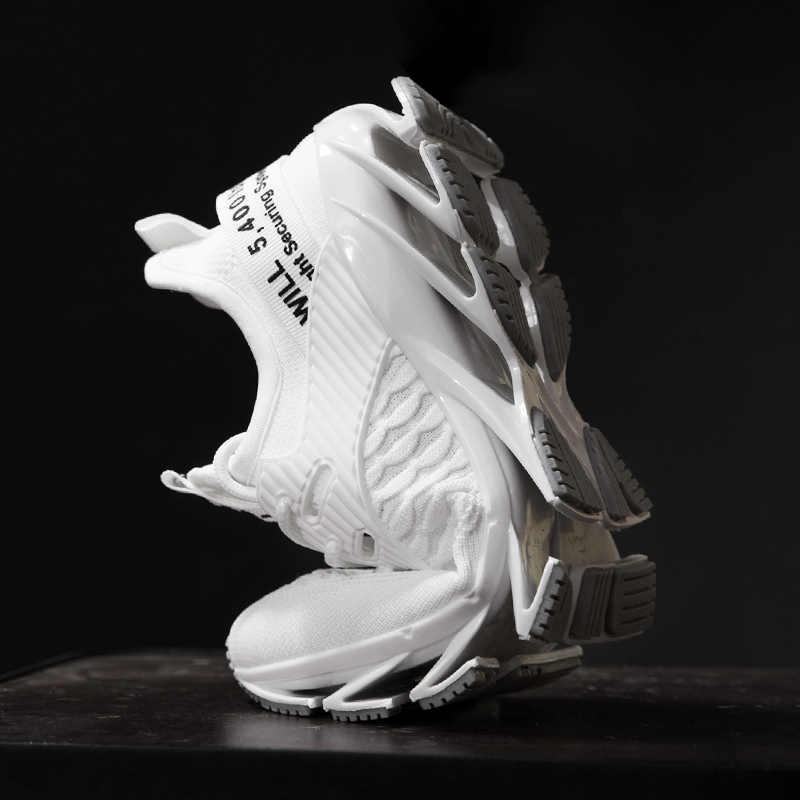 Tamanho grande lâmina tênis de corrida dos homens sapatos 2020 novo à prova de choque respirável esporte ao ar livre tênis de corrida formadores