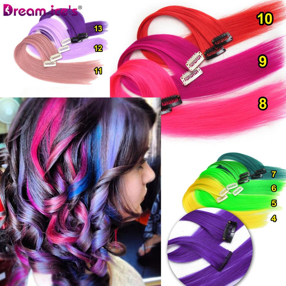 Colored synthetic hair extensions clips in one piece Ombre fake purple  long straight rainbow hair pieces dream ice's 5