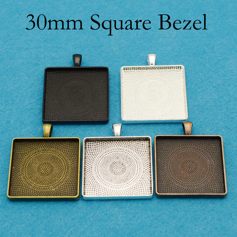 20 Pcs 30mm Square Pendant Tray 1 4