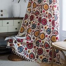 Sunflower Print Curtain with Tassles Bohemian Cotton Linen Semi-shading Bedroom Living Room Bay Window Curtains Decor cortina