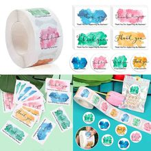 500PCS/Roll Thank You Stickers 50PCS Thanks Greeting Cards For Supporting My Small Business Candy Bags Paper Seal Label Gift