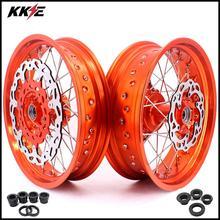 KKE 3,5& 5,0 17 дюймов Cush Drive Supermoto Motard набор колес для KTM 690 SMC 2007-2011 Оранжевый Диск ступицы переднего обода 320 мм