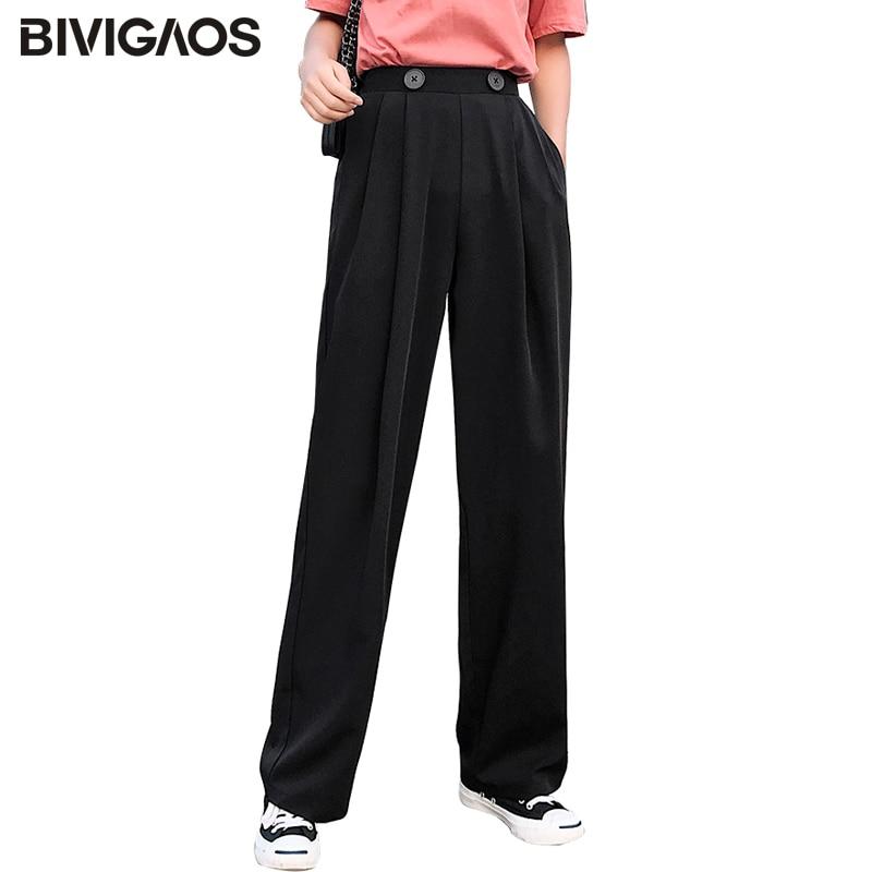 BIVIGAOS Trousers Women Leg-Pants Pleated Double-Button Wide High-Waist Summer Fashion