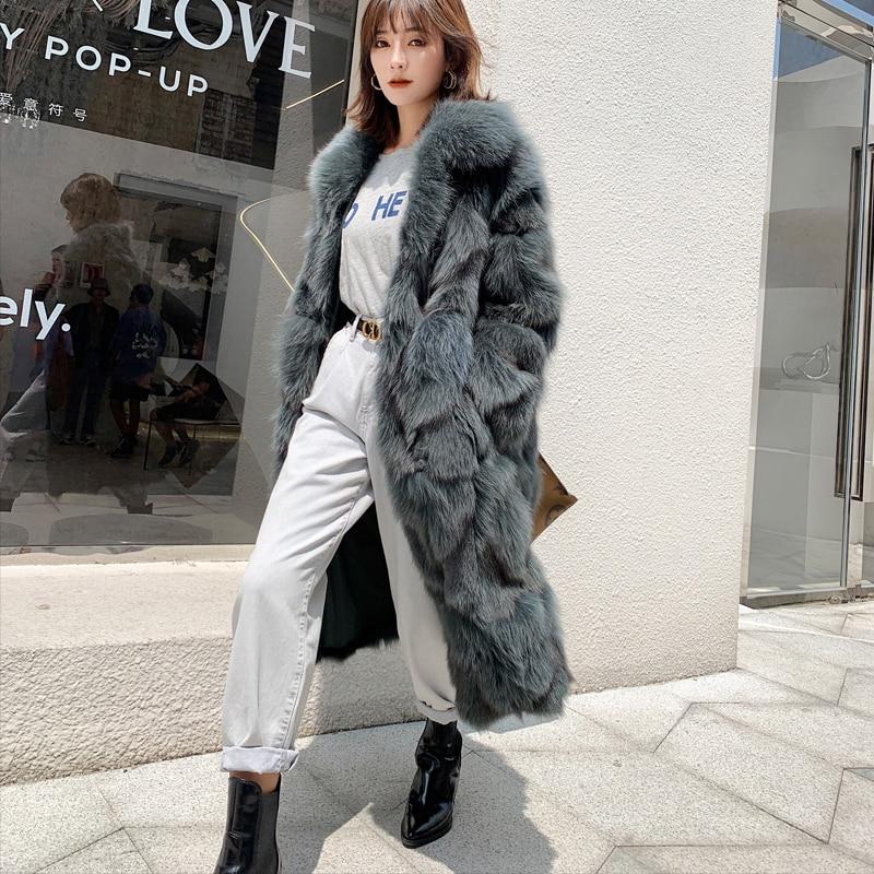 Rf1931 Luxury X-long Fox Fur Coat Women Long Sleeve Turn Down Collar Natural Fox Fur Coat