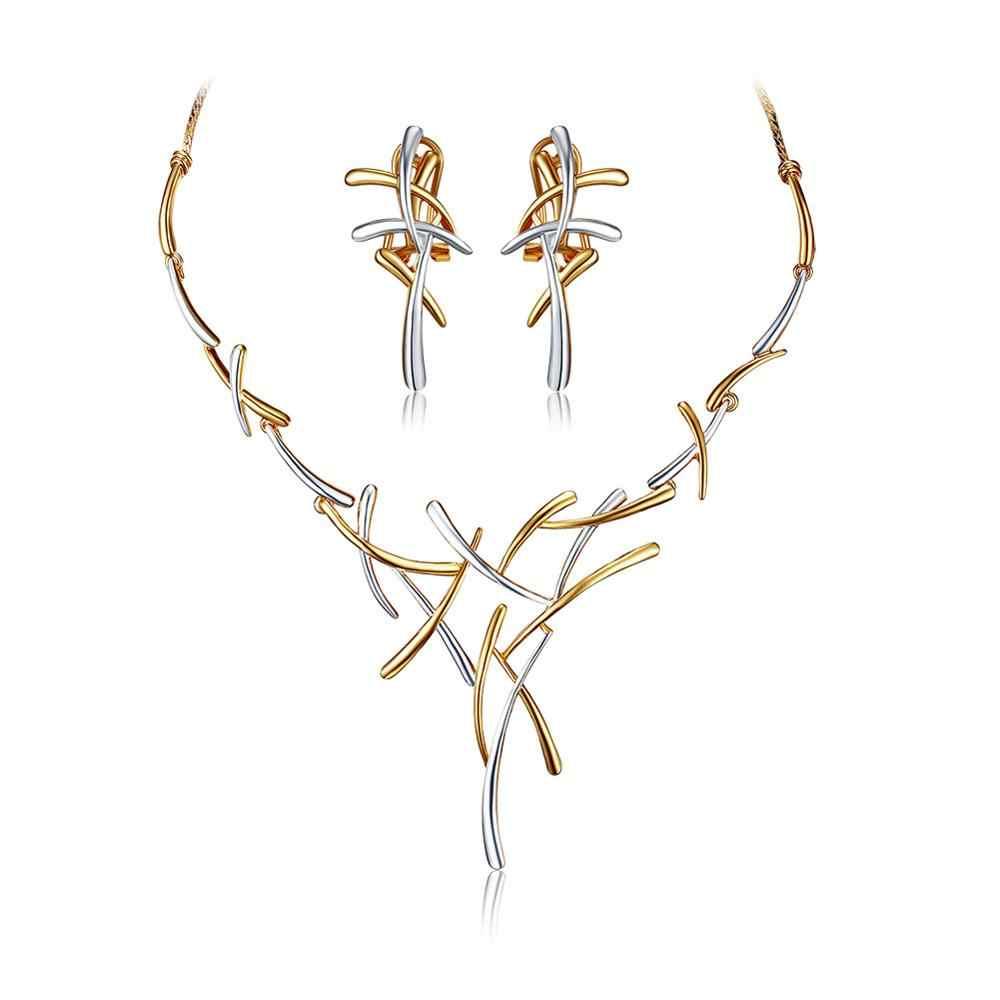 Viennois набор украшений для женщин, крупное колье и серьги покрытые золотом