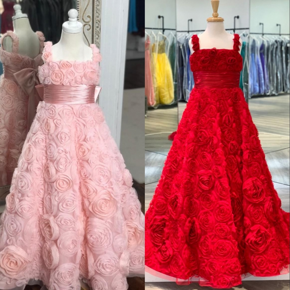 Stunning Pink Rosettes Girls Pageant Dress 2020 For Infant Toddler Kids Baby Girl 3D Roses Floral Birthday Party Gown For Teens
