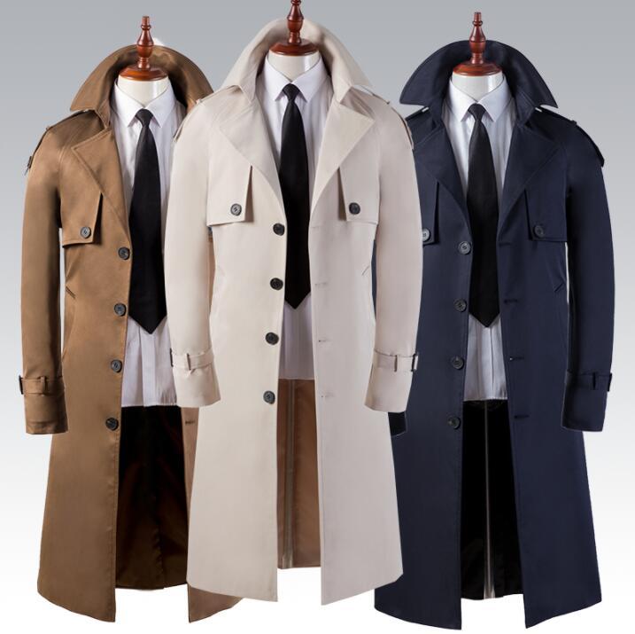 Mens Trench Coats Beige Brown Blue Man Long Coat Men Clothes Slim Fit Overcoat Long Sleeve 2020 Spring Autumn New Designer 6XL