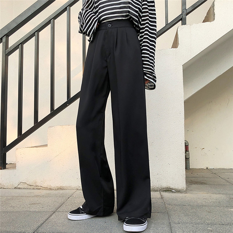 HziriP Brief Plus Texture Slender Casual 2020 High Loose Solid Women Pants Straight All Match Fashion Chic Wide Leg Trousers