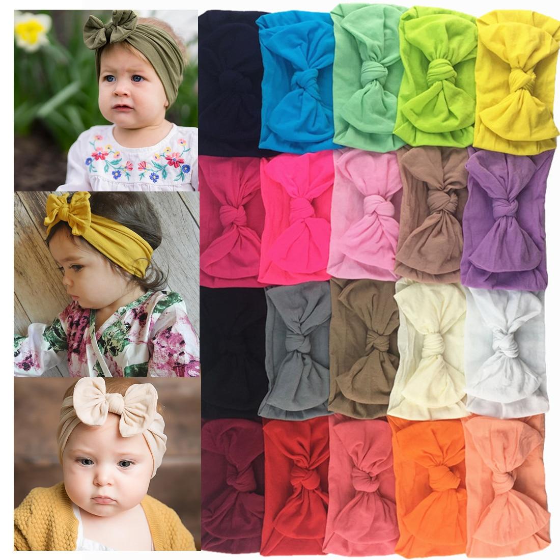 20 adet yeni moda bebek kız şapkalar yumuşak elastik naylon kafa bandı yay düğüm türban bandı uyar 0-32 ay bebek çocuk HB084