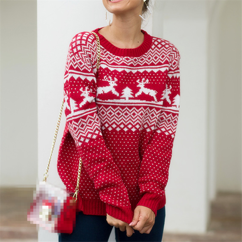 Christmas Women Sweater 2019 Elk Print Pullover Sweaters Autumn Winter Tops Clothing Female Long Sleeve Knit Casual High Quality