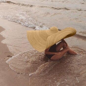 ZJBECHAHMUFashion Large Sun Hat Beach Anti-UV Sun Protection Foldable Straw Cap Cover summer straw hat women big wide brim beach summer straw hat women wide brim beach hat sun hat foldable sun block uv protection panama hat bone chapeu feminino h26