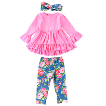 1-6Y Little Girls Boutique Toddler Kids Baby Girl Solid Color Top Shirt Dress + Floral Printed Pants Legging Outfit Fall Clothes 2018 autume fall winter hot sale baby girls boutique wine burgundy floral light stripe dress children clothes milk silk cotton