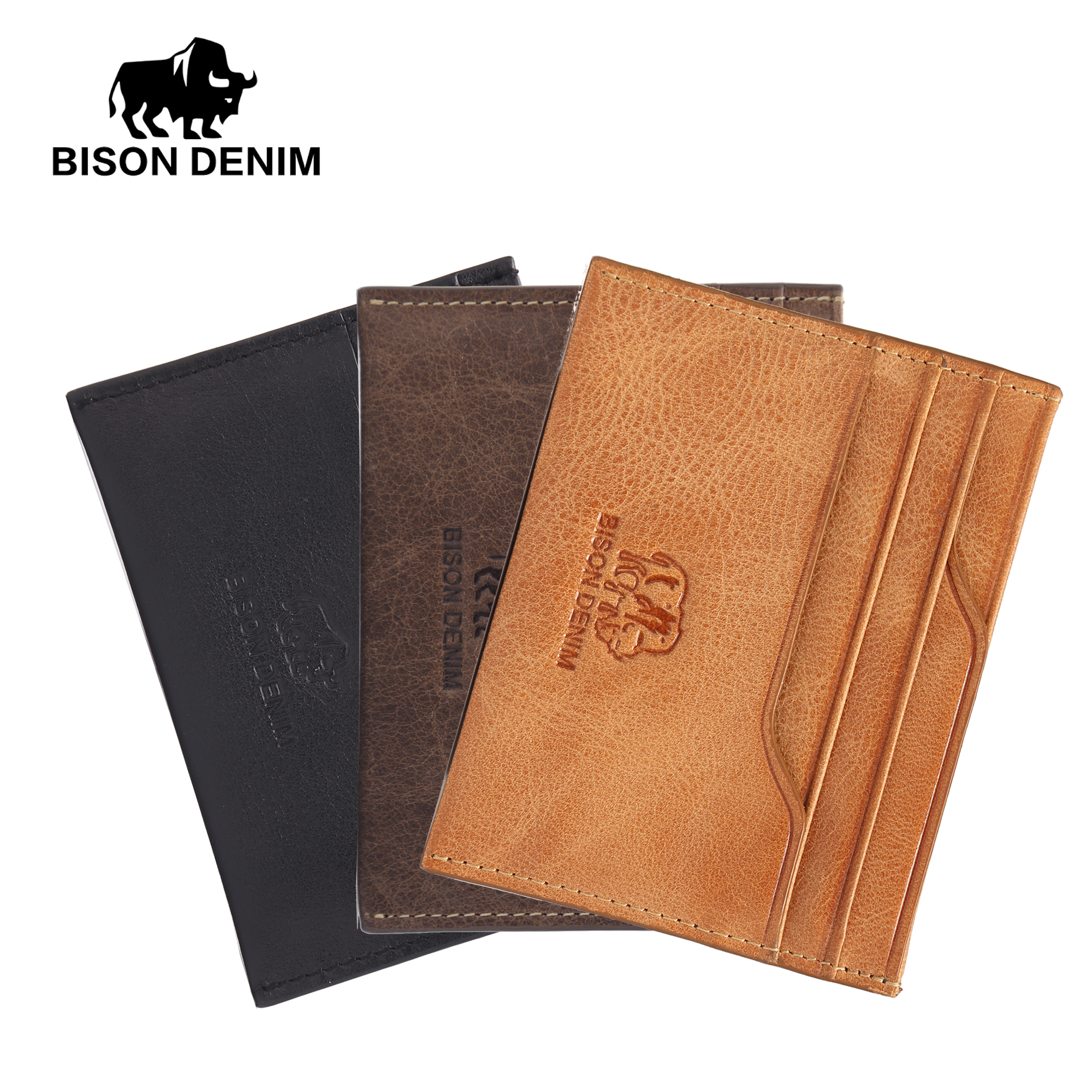 BISON DENIM Genuine Leather Card Holder Credit Cart Wallet Mini Slim Wallet Money Case Card Cowskin Leather ID Holders W9315