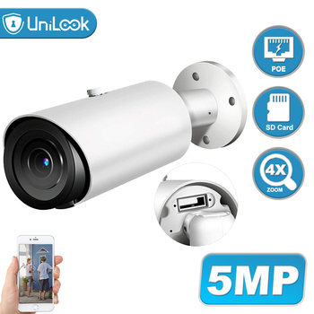 UniLook 5MP Support 4X Zoom POE IP Camera Built in Microphone SD Card Slot Hikvision Compatible ONVIF Night Vision IP 66 H.265 ahua ipc eb5531 5mp wdr panorama 180 degree built in mic with sd card slot poe network fisheye ip camera replace ipc eb5500