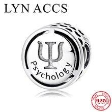 Psicologia ocupação símbolo sinal 925 prata esterlina corações ocos contas finas se encaixa original lynaccs charme pulseiras jóias diy