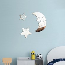 1pcs Wall Decals Adhesive 3D Stars Moon Cloud Feather Mirror Stick Party Home Room Bedroom Decoration Art Mural Stickers