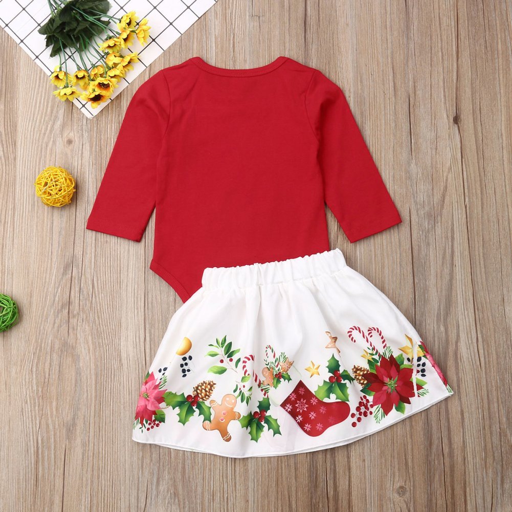 Pudcoco Newborn Baby Girl Clothes My 1st Christmas Print Romper Tops Bowknot Mini Skirt 2Pcs Outfits Clothes Christmas Set 1