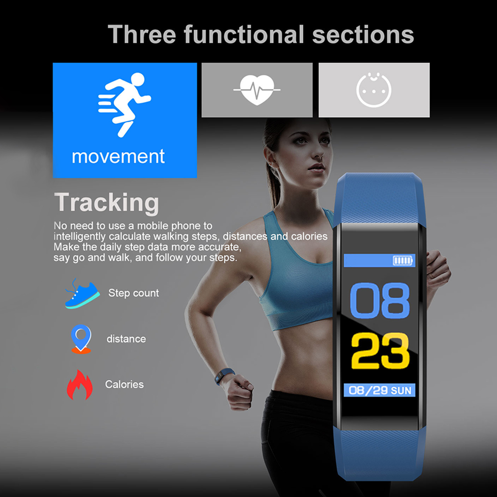 He9a3b1a248a94c8aa76763bfb53524c5g VIKEFON Smart Bracelet id115 plus Color Screen Sport Pedometer Watch Smartband Fitness Traker Bluetooth Waterproof Smart Band