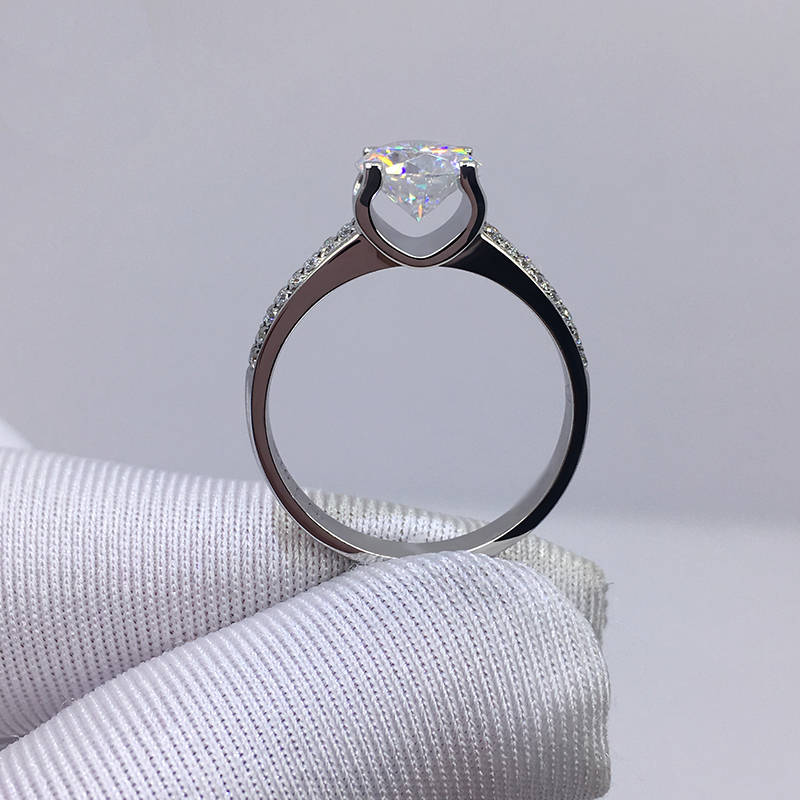 Big 98% OFF! Authentic 100% 925 Sterling Silver 8mm 2.0ct Zirconia Diamond Ring Wedding Fine Jewelry 2020 New Design 2