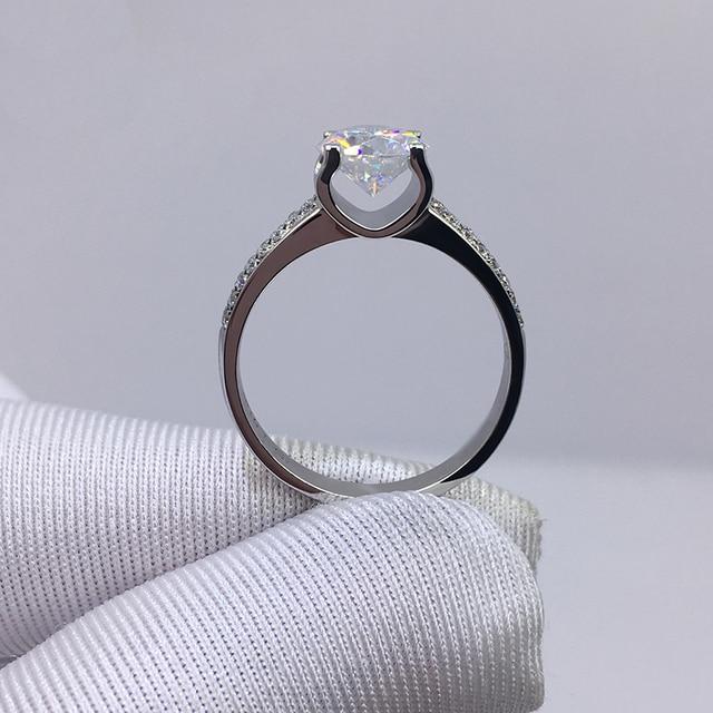 Big 98% OFF! Authentic 100% 925 Sterling Silver 8mm 2.0ct Zirconia Diamond Ring Wedding Fine Jewelry 2020 New Design 2