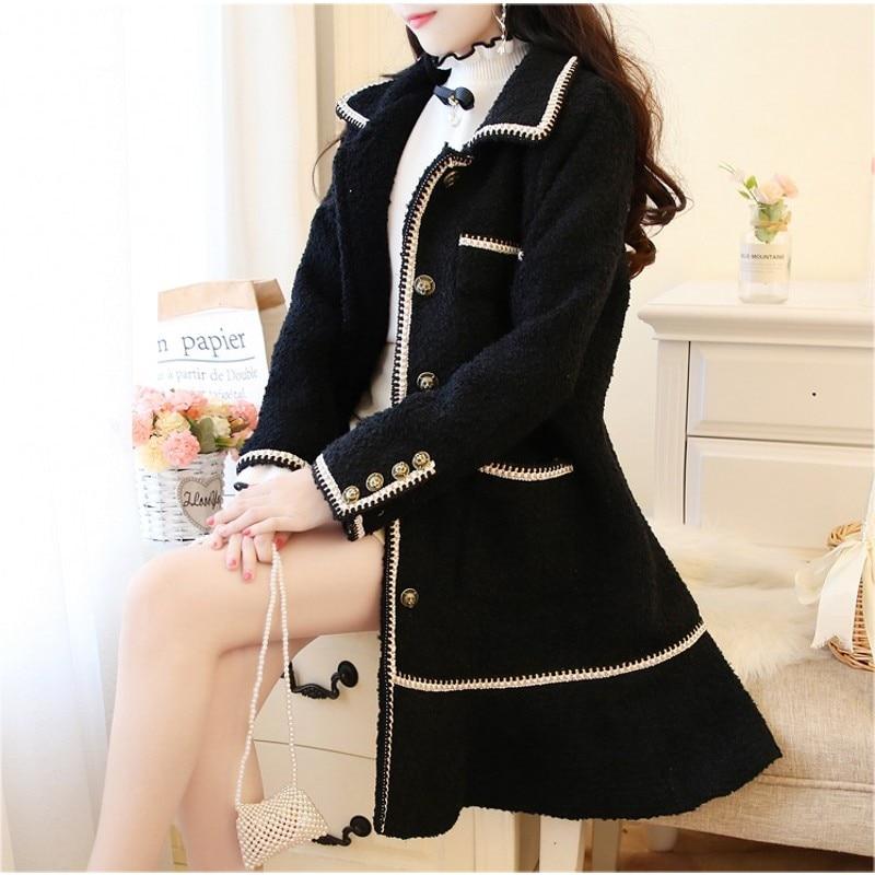 Fashion Autumn Winter Coat 2019 New Women Woolen Overcoat Lapel Long Blend Tweed Jacket Ladies Elegant Outwear