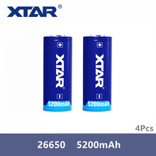 4 個オリジナル Xtar 充電式 26650 5200 2200mah のボタン 3.6 懐中電灯ポータブル電源などのための 3.7v 保護バッテリー