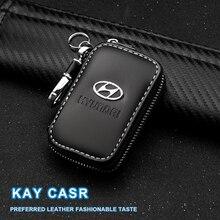 Hakiki deri anahtar cüzdan fermuar araba anahtarı sahipleri toka Hyundai Solaris için i20 i30 ix20 ix35 vb. Araba aksesuarları Styling