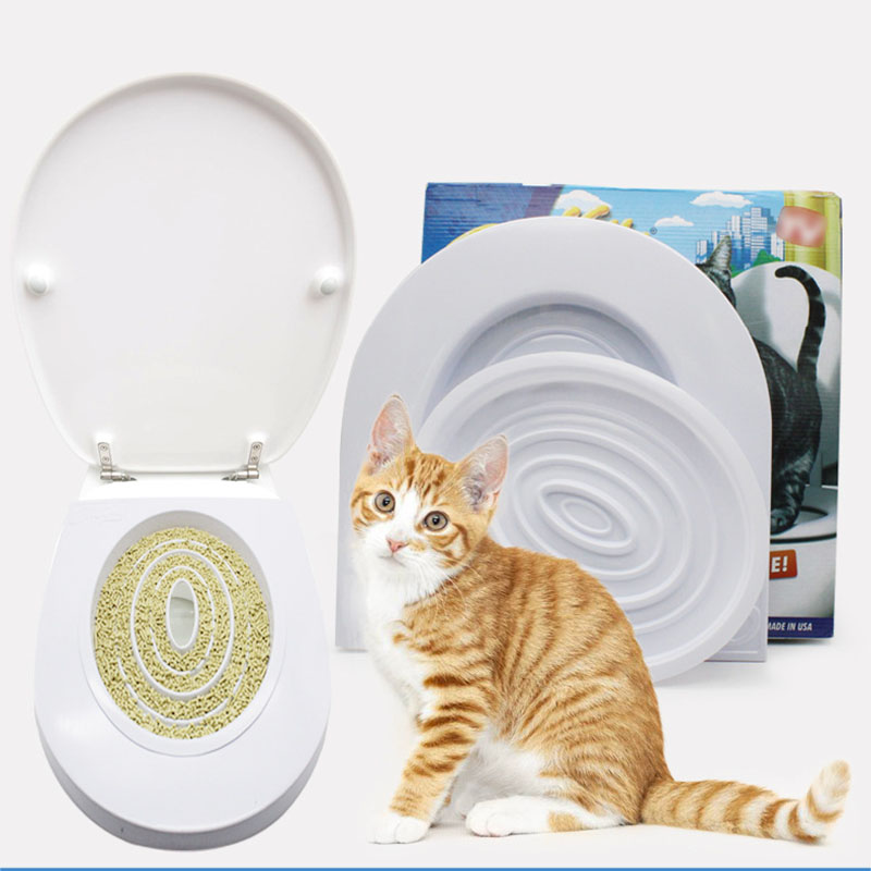 Pet Cat Toilet Seat Training Kit Plastic Puppy Litter Potty Tray Pets Cleaning Supplies Healthy Pet Cats Human Toilet