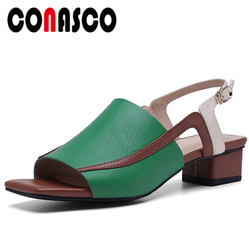 CONASCO Euro Style Fashion Concise Casual Summer Women Cow Leather Sandals Pumps Mixed Colors Peep Toe Thick Heel Shoes Woman