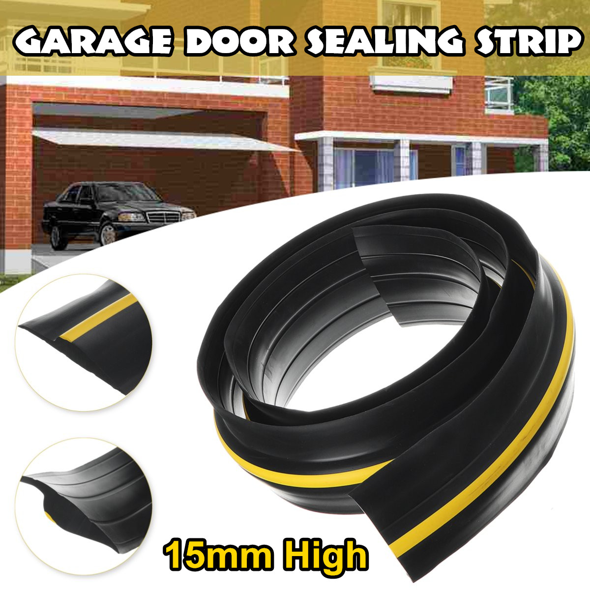 1.5-2.7M Garage Door Bottom Seal Weather Stripping PVC Rubber Seal Strip Electric Door Bottom Seal Water Noise Seal Bumper Strip