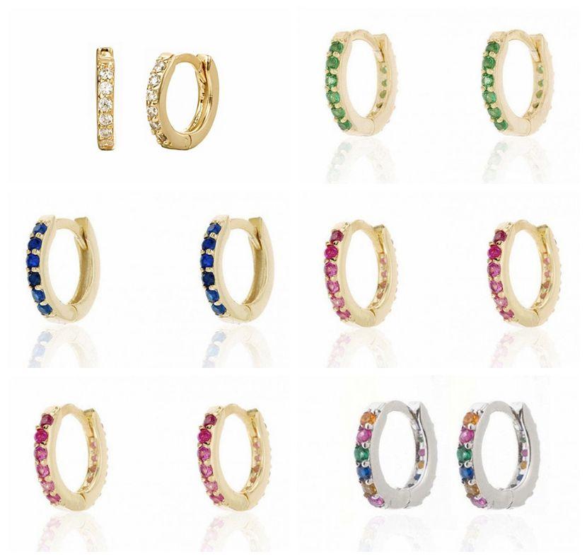 Real 100% 925 Sterling Silver Earrings Rainbow Zircon Stud Earrings For Men Women Oorbellen Boucle D'oreille A30