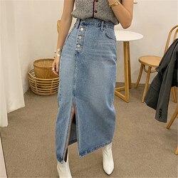 Vintage Split Denim Jeans Skirt Women Buttons High Waist Long Maxi Skirts Pocket Harajuku Korean Denim Skirt Plus Size 2020 W939