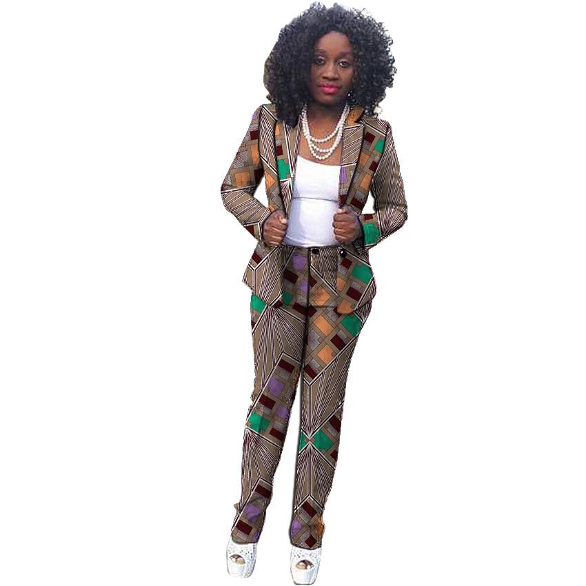 Elegant women African suits fashion plus size dashiki print clothes custom made groom suit for ladies Ankara blazer&pants