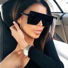 Plastic Oversized Women Sunglasses Square Brand Designer Big