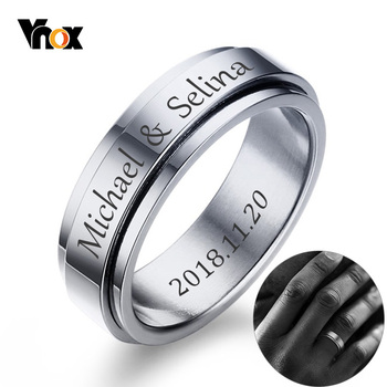 vnox 6mm 8mm spinner ring for men stress release accessory classic stainless steel wedding band casual male sports jewelry Vnox Personalized Spinner Ring for Men Women 6mm Stainless Steel Rotatable Wedding Band Custom Name Date Initial Male Tail Ring