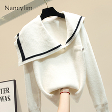 European-style Sweater Women Pull Jacket Coat Autumn New Womens Navy Collar Loose Ladies Pullover Jumper Student