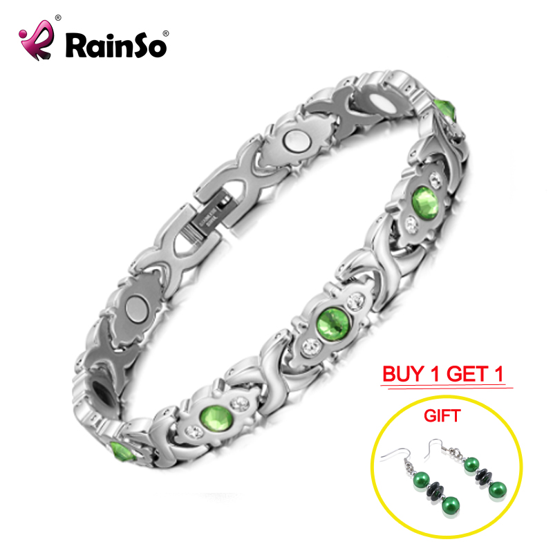 RainSo Stainless Steel Link Chain Charm Magnetic Germanium Far Infrared Bracelet For Women Fashion Femme Bangles JewelryChain & Link Bracelets   -