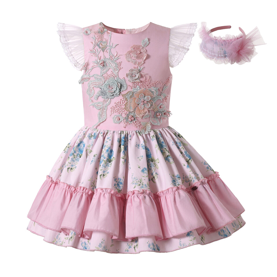 Pettgirl Boutique Pink Flower Girl Dresses Appliqued Kid Girl Clothes Fly Sleeve Little Girls Party Dresses
