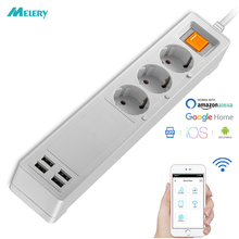 Power Strip WiFi Smart Plug Homekit 3 EU Socket Surge Protection Remote Control Outlet with 2m Extension Cord Independent Switch