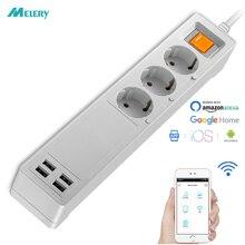 Striscia di alimentazione WiFi Smart Plug Homekit 3 UE Presa di Protezione Contro Le Sovratensioni Presa di Controllo Remoto con 2m di Cavo di Prolunga Indipendente interruttore