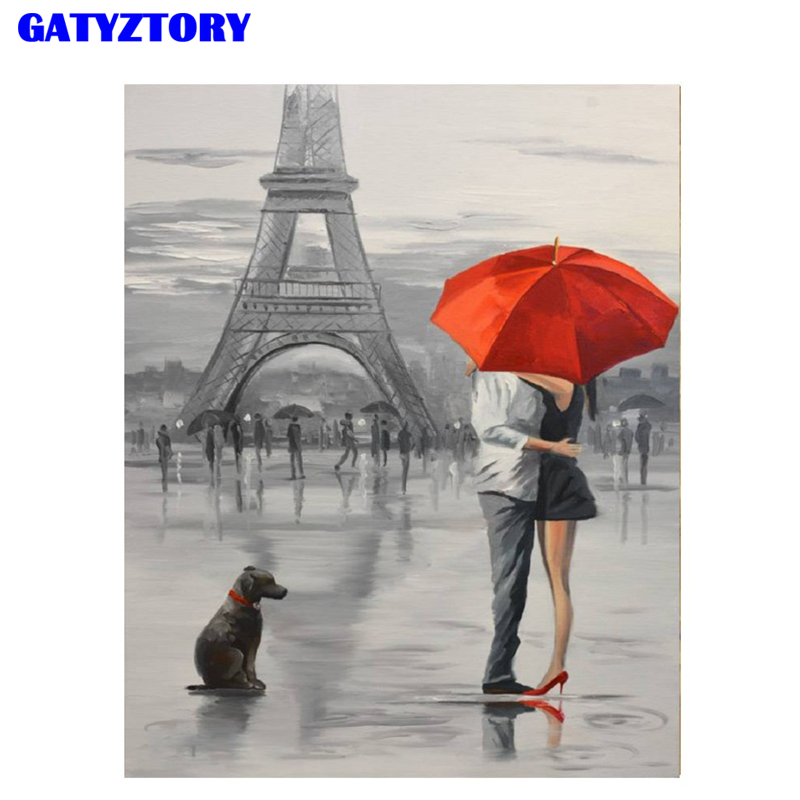 GATYZTORY Frame DIY Digital Painting By Numbers Eiffel Tower Lover Romantic Landscape Hand Painted Wall Art For Home Decor