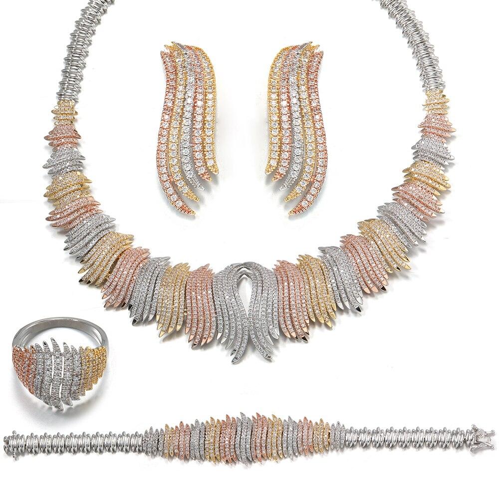 Mariée parler de luxe complet Micro pavé cubique Zircon bijoux quatre pièces ensembles collier boucle d'oreille bracelet anneau pour les femmes Banquet de mariage